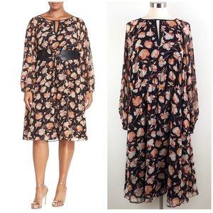 Adrianna Papell | Floral Chiffon Blouson Dress